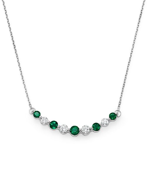 """Bloomingdale's - Emerald and Diamond Curve Pendant Necklace in 14K White Gold, 16"""" - 100% Exclusive"""