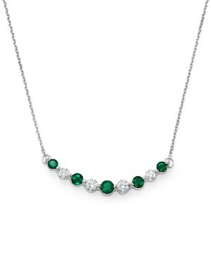 Emerald and Diamond Curve Pendant Necklace in 14K White Gold, 16 - 100% Exclusive