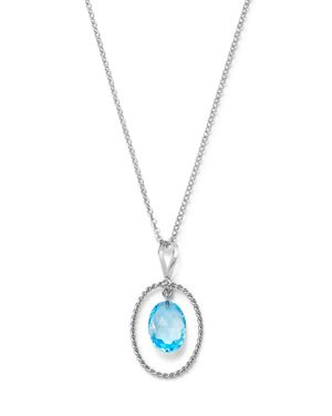 Blue Topaz Twisted Pendant Necklace in Sterling Silver, 18 - 100% Exclusive