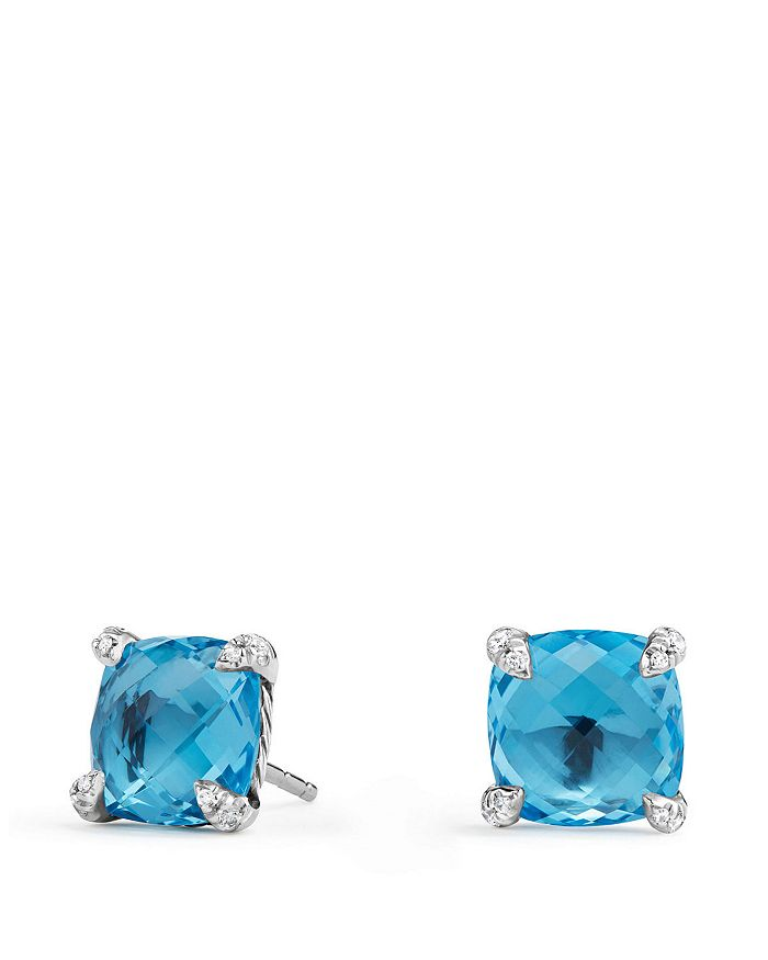 David Yurman - Châtelaine® Stud Earrings with Blue Topaz and Diamonds