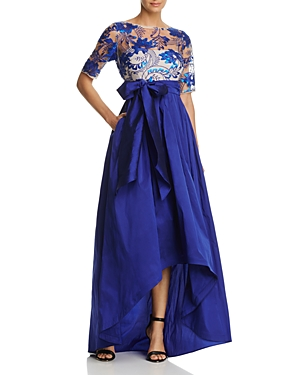 Adrianna Papell Three-Quarter Sleeve Beaded High/Low Gown