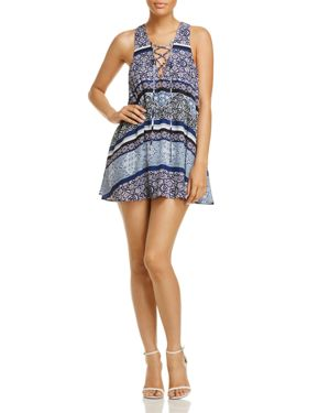 Olivaceous Lace-Up Printed Dress