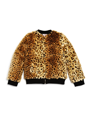Design History Girls Cheetah Faux Fur Bomber Jacket  Big Kid