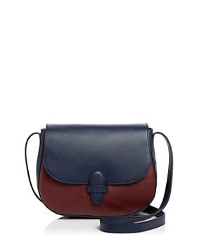 Olivia Clergue - Marisa Maxi Leather and Suede Saddle Bag
