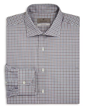 Canali Tattersall Regular Fit Dress Shirt