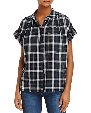 Birds of Paradis Ruffle-Sleeve Plaid Top