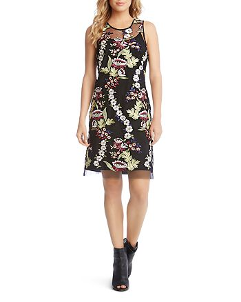 Karen Kane - Sleeveless Embroidered-Overlay Dress