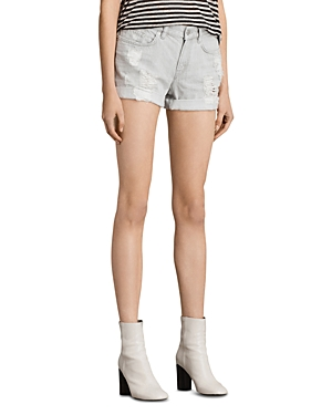 Allsaints Pam Denim Shorts in Pale Gray