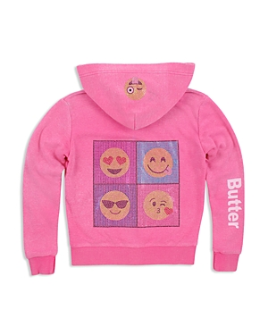 Butter Girls' Sparkle Emoji Embellished Hoodie - Big Kid