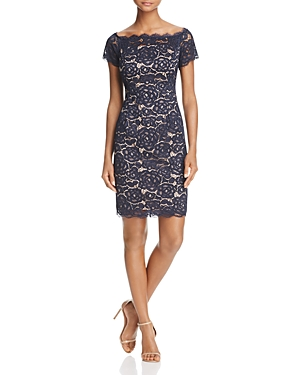 Adrianna Papell Off-The-Shoulder Lace Dress