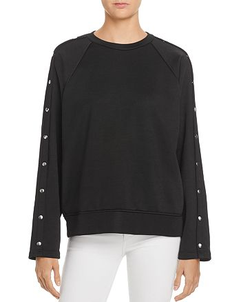 T by Alexander Wang - Snap-Sleeve French Terry Sweatshirt