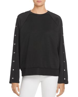 T by Alexander Wang Snap-Sleeve French Terry Sweatshirt