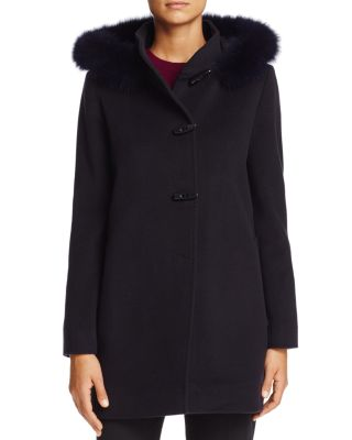 CINZIA ROCCA ICONS Fox Fur Trim Wool & Cashmere Duffel Coat in Navy