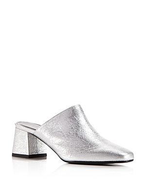 Aska Gem Metallic Leather Block Heel Mules - 100% Exclusive