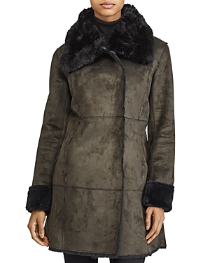 Lauren Ralph Lauren Asymmetric Paneled Faux Shearling Jacket