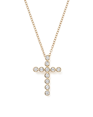 Diamond Bezel Set Cross Pendant Necklace in 14K Yellow Gold, .40 ct. t.w. - 100% Exclusive
