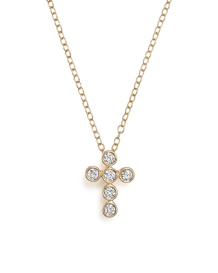 Bloomingdale's - Diamond Bezel Set Cross Pendant Necklace in 14K Yellow Gold, .20 ct. t.w. - 100% Exclusive