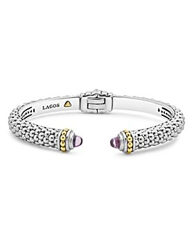 LAGOS - 18K Gold and Sterling Silver Caviar Color Gemstone Cuffs, 8mm