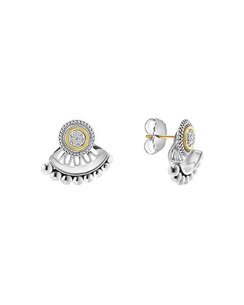 LAGOS - 18K Gold and Sterling Silver Signature Caviar Diamond Ear Jackets