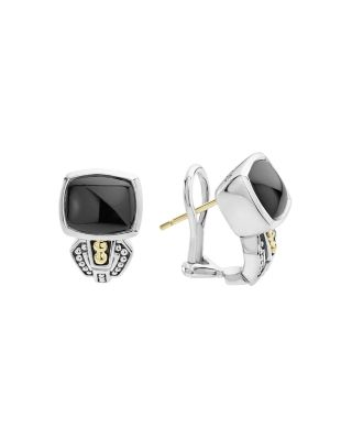 18K Gold And Sterling Silver Caviar Color Onyx Huggie Drop Earrings, Black/Silver