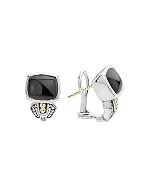 Lagos 18K Gold and Sterling Silver Caviar Color Onyx Huggie Drop Earrings