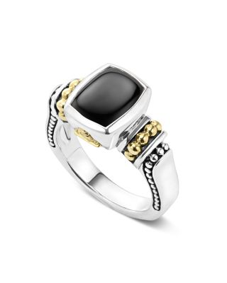 18K Gold And Sterling Silver Caviar Color Small Onyx Small Ring, Black/Silver