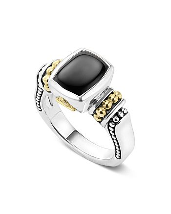 LAGOS - 18K Gold and Sterling Silver Caviar Color Small Onyx Small Ring