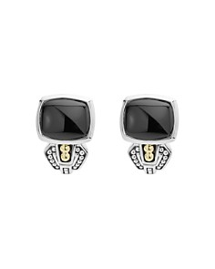 LAGOS - 18K Gold and Sterling Silver Caviar Color Onyx Huggie Drop Earrings