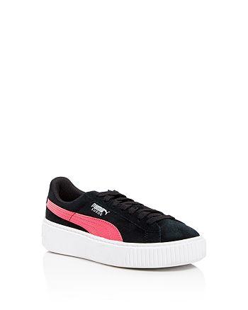PUMA Girls' Suede Platform Sneakers Toddler, Little Kid