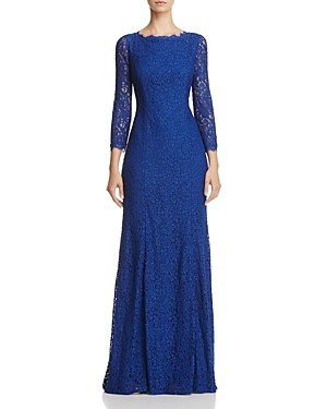 Adrianna Papell Three-Quarter Sleeve Lace Gown