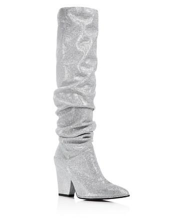 $Stuart Weitzman Smashing Scrunched Metallic Tall Boots - Bloomingdale's