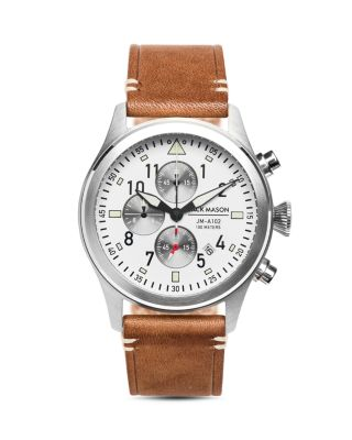 AVIATION CHRONOGRAPH LEATHER STRAP WATCH, 42MM