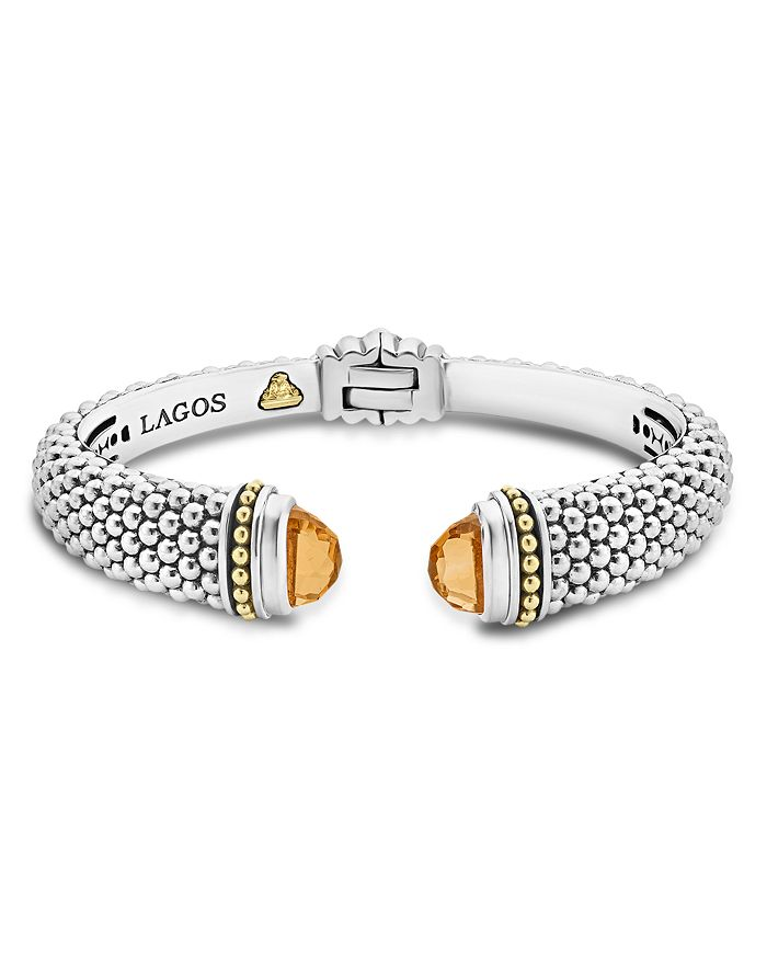 LAGOS - 18K Gold and Sterling Silver Caviar Color Citrine Cuff, 12mm