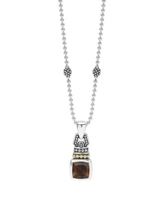 18K Gold And Sterling Silver Caviar Color Pendant Necklace With Smoky Quartz, 16, Smokey Quartz