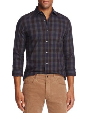 The Men's Store at Bloomingdale's Brushed-Flannel Plaid Classic Fit Button-Down Shirt - 100% Exclusi