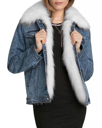 Avec Les Filles - Faux Fur Trim Denim Jacket