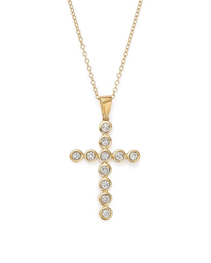 Bloomingdale's - Diamond Bezel Cross Pendant Necklace in 14K Yellow Gold, 1.0 ct. t.w. - 100% Exclusive