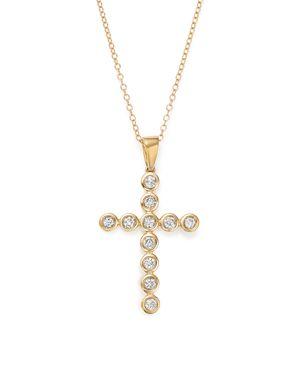 Diamond Bezel Cross Pendant Necklace in 14K Yellow Gold, 1.0 ct. t.w. - 100% Exclusive