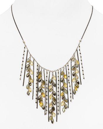 "Chan Luu - Beaded Fringe Collar Necklace, 15"""