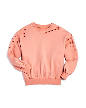 Aqua Girls Distressed Sweatshirt Big Kid  100 Exclusive