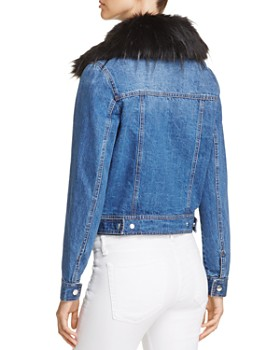 Bagatelle - Faux-Fur Collar Denim Jacket