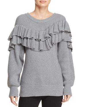dRA Merriam Ribbed-Knit Ruffled Sweater