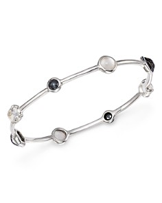 IPPOLITA - Sterling Silver Rock Candy® Mother-of-Pearl Doublet, Hematite Doublet and Clear Quartz Mixed Station Bangle in Piazza