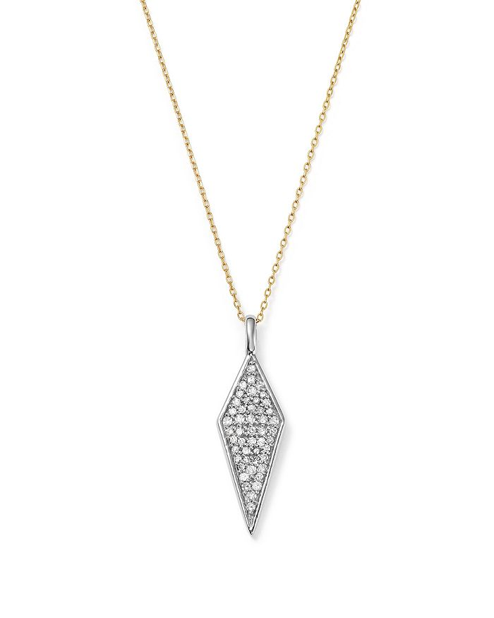 Adina Reyter - Sterling Silver and 14K Yellow Gold Pavé Diamond Pendant Necklace, 15""