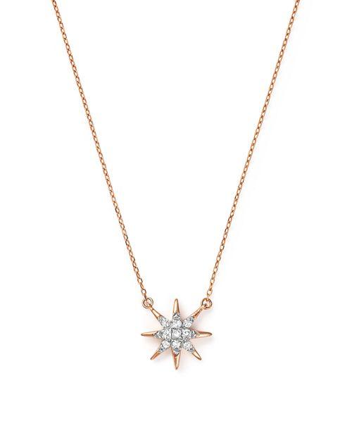 """Adina Reyter - 14K Rose Gold Pavé Diamond Starburst Pendant Necklace, 15"""""""