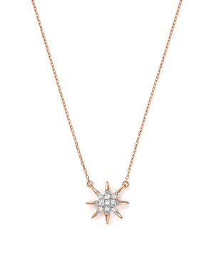 Adina Reyter 14K Rose Gold Pave Diamond Starburst Pendant Necklace, 15