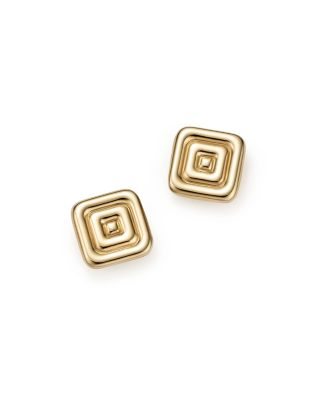 14K YELLOW GOLD SQUARE RIBBED STUD EARRINGS - 100% EXCLUSIVE