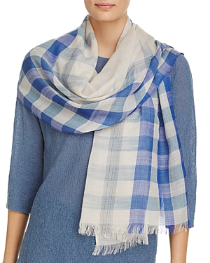 Eileen Fisher Ombre Check Wool Scarf at Bloomingdale's