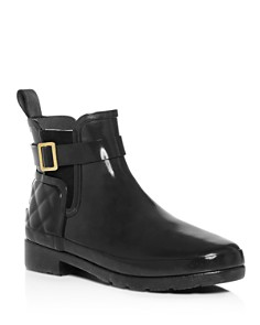 Hunter - Women's Refined Gloss Quilted Chelsea Rain Booties