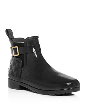 Hunter - Women's Refined Gloss Quilted Rain Chelsea Boots